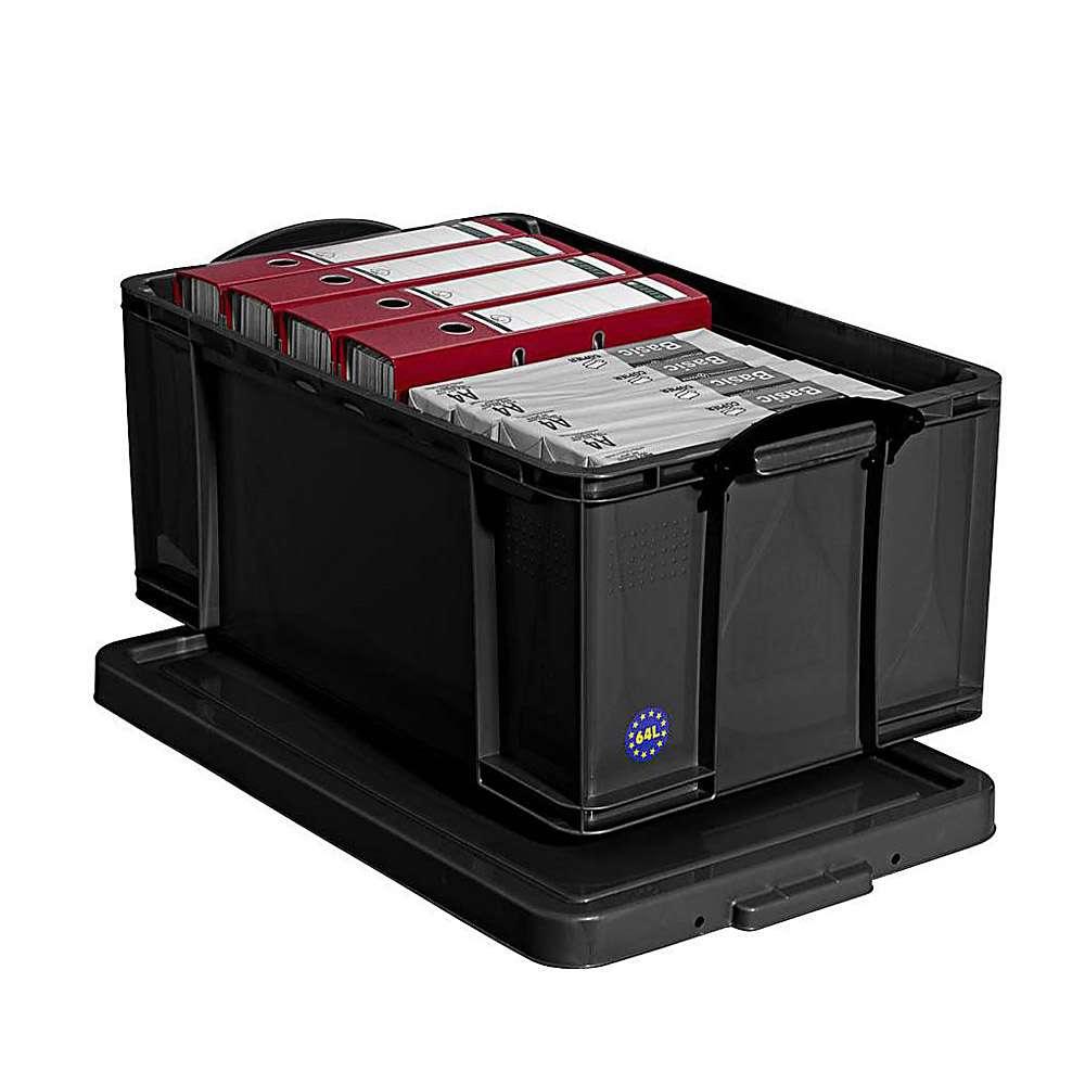 Förvaringslåda med lock volym 9 84 l plast svart